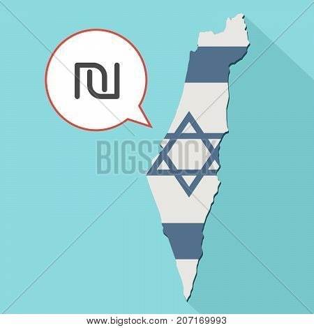 Illustration Of A Long Shadow Israel Map With Its Flag And A Comic Balloon With A Israeli New Shekel