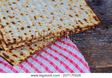 Passover Background.matzoh Jewish Holiday Over Wooden Table.