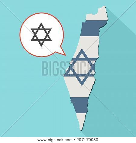 Illustration Of A Long Shadow Israel Map With Its Flag And A Comic Balloon With A Jewish Star Of Dav