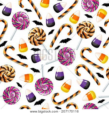 Halloween sweets seamless pattern. Lollipop candy, candy corn and cane colorful holiday background.