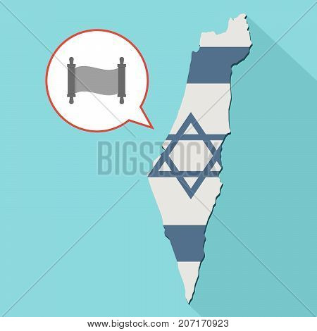 Illustration Of A Long Shadow Israel Map With Its Flag And A Comic Balloon With A Torah Scroll