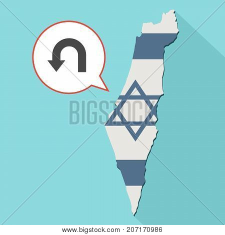 Illustration Of A Long Shadow Israel Map With Its Flag And A Comic Balloon With A Turn Back Arrow