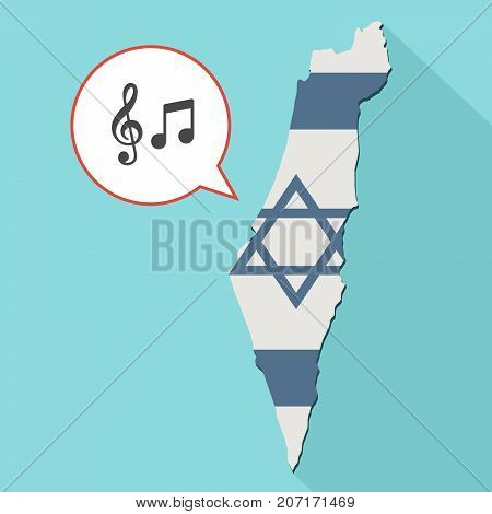 Illustration Of A Long Shadow Israel Map With Its Flag And A Comic Balloon With G Clef And Note Musi