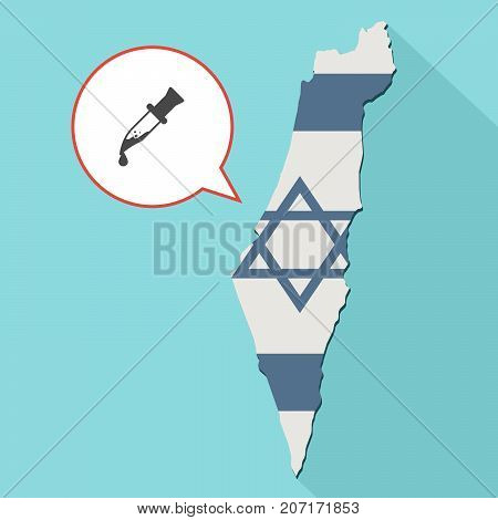 Illustration Of A Long Shadow Israel Map With Its Flag And A Comic Balloon With A Bloody Knife