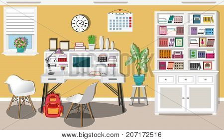 Modern teenager room interior design with comfortable workplace. Stylish furniture - table, chairs, bookcase, lamps, computer, books and window. Flat style vector illustration.