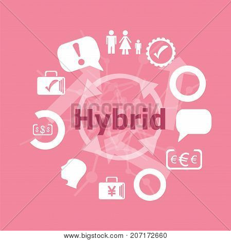 Text Hybrid. Business Concept . Icons Set. Flat Pictogram. Sign And Symbols For Business, Finance, S
