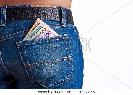 Money In Girls Jeans Back Pocket