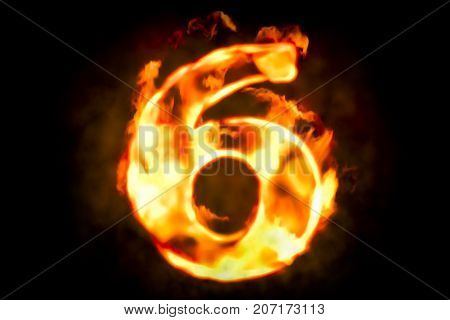 Fire number 6 of burning flame light 3D rendering
