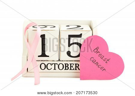 Pink Ribbon With Cube Calendar And Inscription Breast Cancer On White Background
