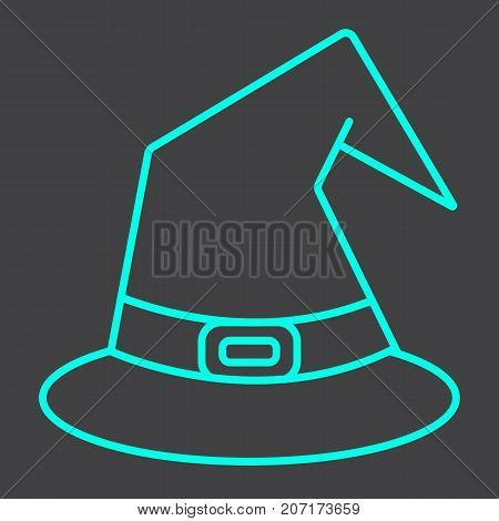 Witch hat line icon, halloween and scary, wizard hat sign vector graphics, a linear pattern on a black background, eps 10.