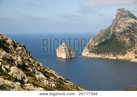 Bizarre Cabo Formentor and the famous rock island Colomer (Majorca, Spain) poster