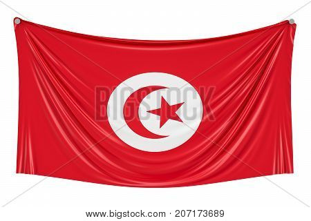 Tunisia flag hanging on the wall 3D rendering