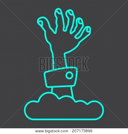 Zombie hand line icon, halloween and scary, dead sign vector graphics, a linear pattern on a black background, eps 10.