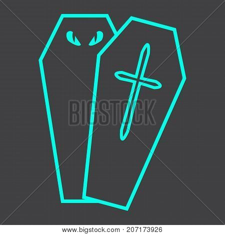 Halloween Coffin line icon, halloween and scary, dead sign vector graphics, a linear pattern on a black background, eps 10.