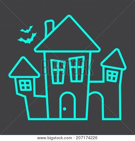 Scary House line icon, halloween and scary, creepy home sign vector graphics, a linear pattern on a black background, eps 10.