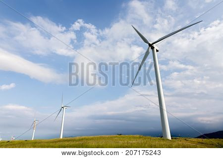 Capracotta Molise Italy 26 June 2017. Wind turbines for renewable sources of electricity without pollution