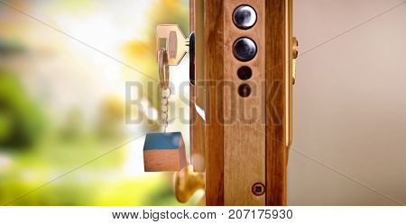 Door Section With Keys In The Lock Security Concept