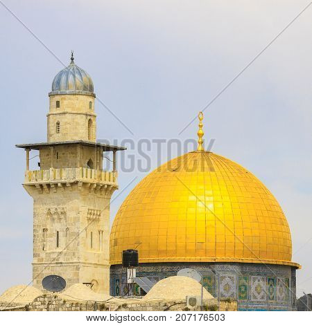Minaret and dome of mousque Al-aqsa (Dome of the Rock) in Jerusalem