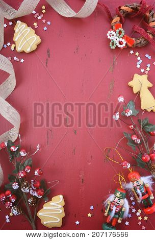 Vintage Red Wood Background Christmas Holiday Background