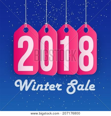 Winter Sale concept shopping and business promotion 2018 year. Vector illustration.