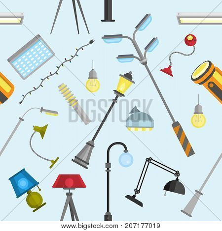 Street outdoor and home lamps light electric equipment vector seamless pattern background Street outdoor and home lamps light electric equipment vector tool. Energy decorative lamp