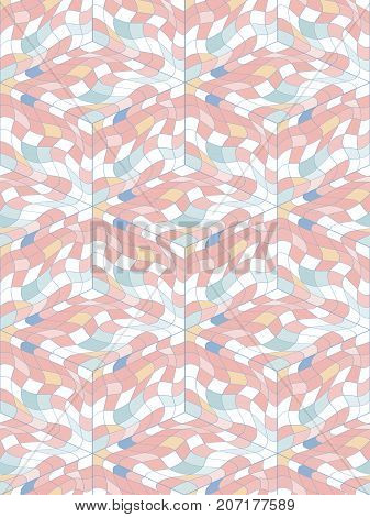 Abstract seamless pattern from many wavy elements. Hidden cubic forms. The contours of the geometric shapes.