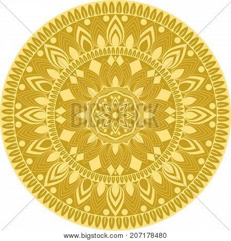 Golden mandala, circular pattern, decorative element. Vector illustration. Arabian, Asian, indian muslim islamic or yoga design