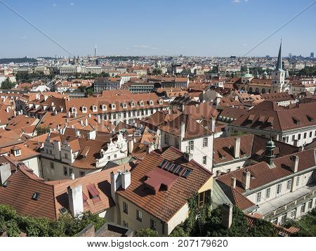 Aerial View Of Prague Old Town