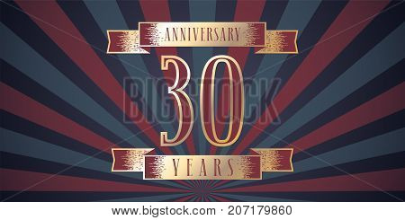 30 years anniversary vector icon logo. Graphic design element with abstract background for 30th anniversary card