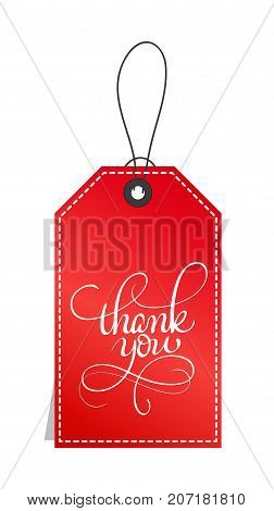 red paper gift tags with text Thank you. Calligraphy lettering hand made text. Vector illustration EPS10.