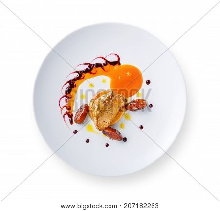 Roasted goose liver with date fruit, apple and berry sauce painting isolated on white background. Creative french cuisine, delicatessen restaurant meal
