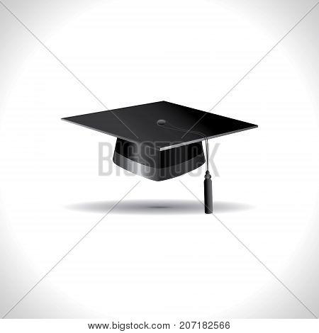 Education cap on white background. Graduation student hat