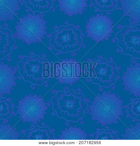 Hand drawing bright, psychedelic floral seamless background, neon color outline, blue color background, vector fantastic flowers pattern.