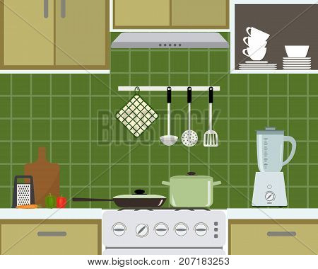 Fragment of kitchen interior in a green color. There is a frying pan, a pan on the stove, a blender, a cutting board, a grater, vegetables and other objects in the picture. Vector flat illustration