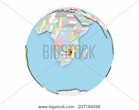 Zimbabwe On Globe Isolated