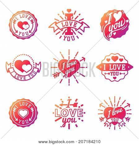 Vector I love You text overlays hand drawn lettering badge inspirational lover quote illustration. Lovely follow your heart romantic type have greeting sign message decoration.