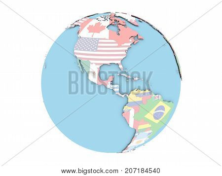 Belize On Globe Isolated