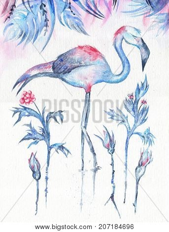 Blue exotic winter painting with flamingo, rose flowers and berries under leaves on white textured background