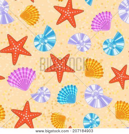 Sea shells and stars marine cartoon clam-shell seamless pattern background vector illustration.