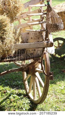 Ancient Chariot With The Hay Of A Farmer
