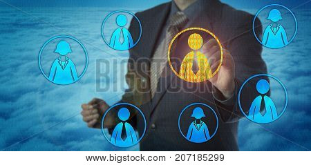 Unknowable hiring manager finding right employee in cyber space. HR concept for talent acquisition digital interview databased decision-making and artificial intelligence in recruitment technology.