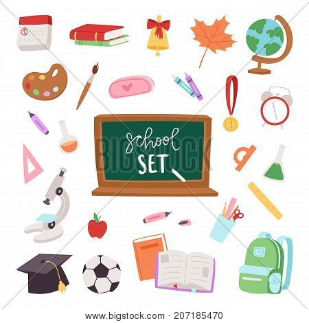 School supplies icons symbols isolated equipment vector illustration.. School learning art graduation symbols. School board, chalc, hat