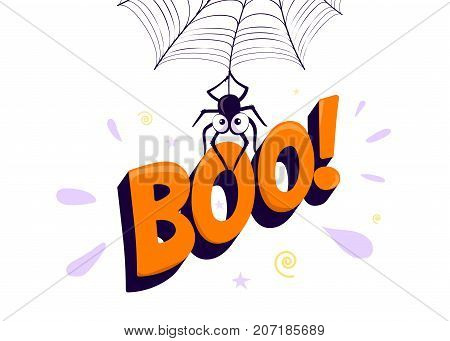Vector illustration of halloween boo. Cartoon spider hanging from web and holding up type 3d letter sign. Simple cute design in flat style