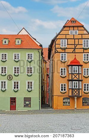 Group of medieval houses on main market square in Cheb, Czech republic -- Stock Photo #160692396 Medieval house called Spalicek. Market square in Cheb, Czech Republic