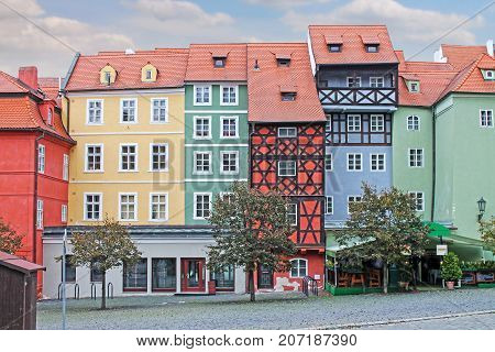 Medieval House. Market Square In Cheb, Czech Republic -- Stock Photo #160692436 Group of medieval houses on main market square in Cheb, Czech republic. Half-timbered houses.