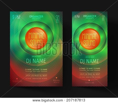 Minimal party flyer. Invitations for a night club or electronic festival in the style of house, dubstep, techno, minimal, trance, Drum and Bass or Indie rock.