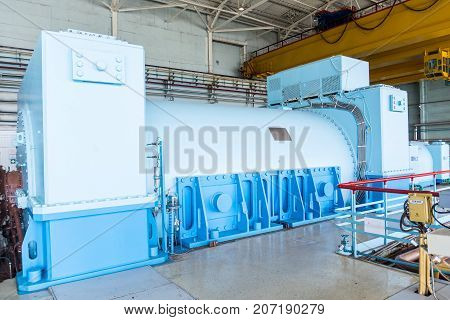 industrial generator in the Engine Room for Steam Turbines of the Kursk Nuclear Power Plant