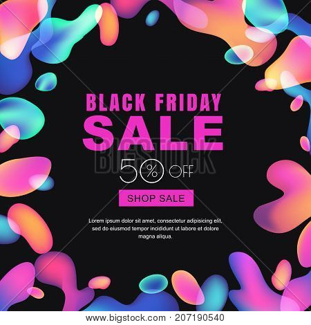 Black Friday Glowing Neon Lights Sale Banner. Vector Abstract Trendy Poster. Square Frame With Multi