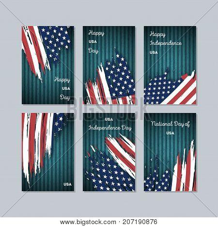 Usa Patriotic Cards For National Day. Expressive Brush Stroke In National Flag Colors On Dark Stripe