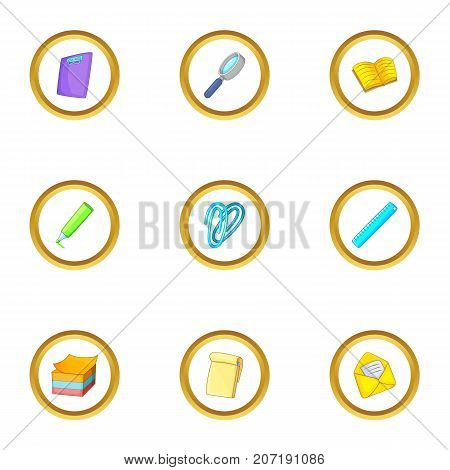 Office tools icons set. Cartoon style set of 9 office tools vector icons for web design